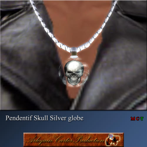 Skull-silver-globe
